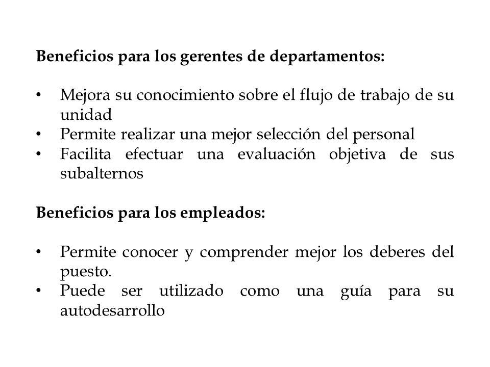 Beneficios para los gerentes de departamentos: