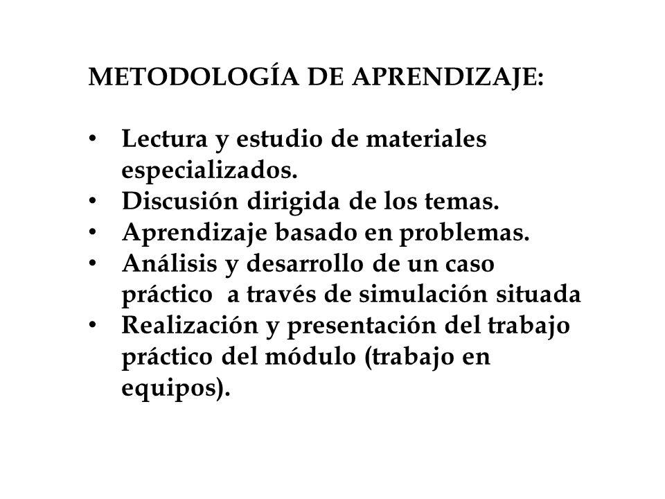 METODOLOGÍA DE APRENDIZAJE: