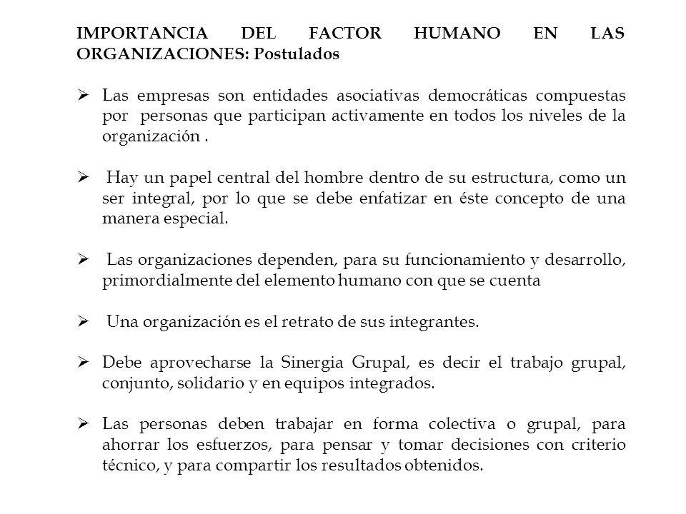 IMPORTANCIA DEL FACTOR HUMANO EN LAS ORGANIZACIONES: Postulados