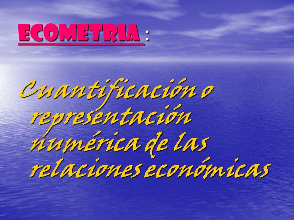 Cuantificación o representación numérica de las relaciones económicas