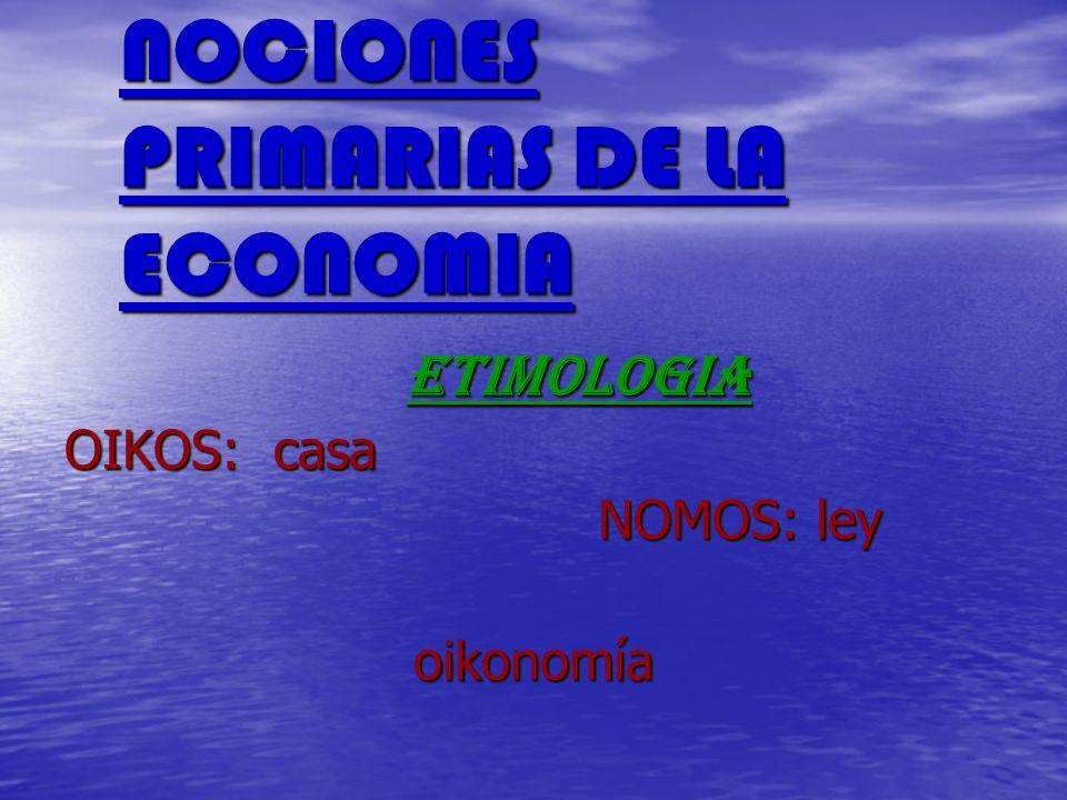 NOCIONES PRIMARIAS DE LA ECONOMIA