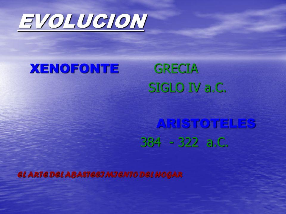 EVOLUCION XENOFONTE GRECIA SIGLO IV a.C. ARISTOTELES 384 - 322 a.C.