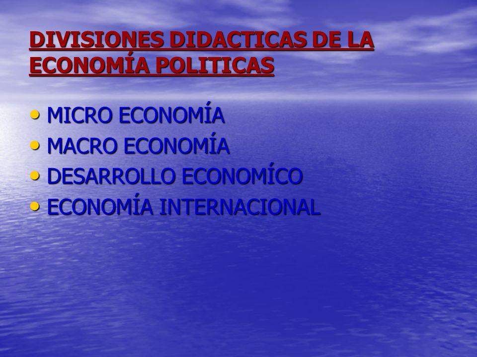 DIVISIONES DIDACTICAS DE LA ECONOMÍA POLITICAS