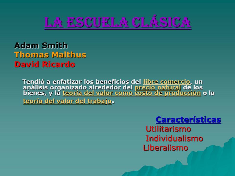 La Escuela Clásica Adam Smith Thomas Malthus David Ricardo