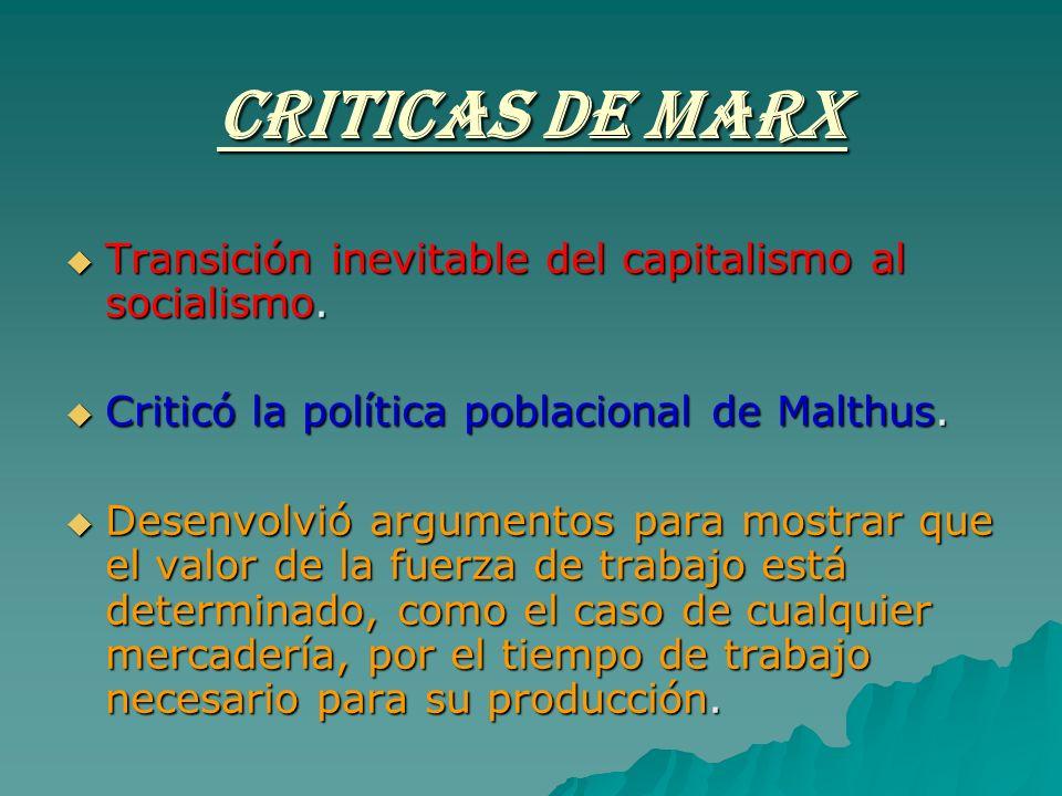 CRITICAS DE MARX Transición inevitable del capitalismo al socialismo.