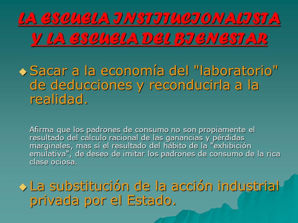 LA ESCUELA INSTITUCIONALISTA Y LA ESCUELA DEL BIENESTAR