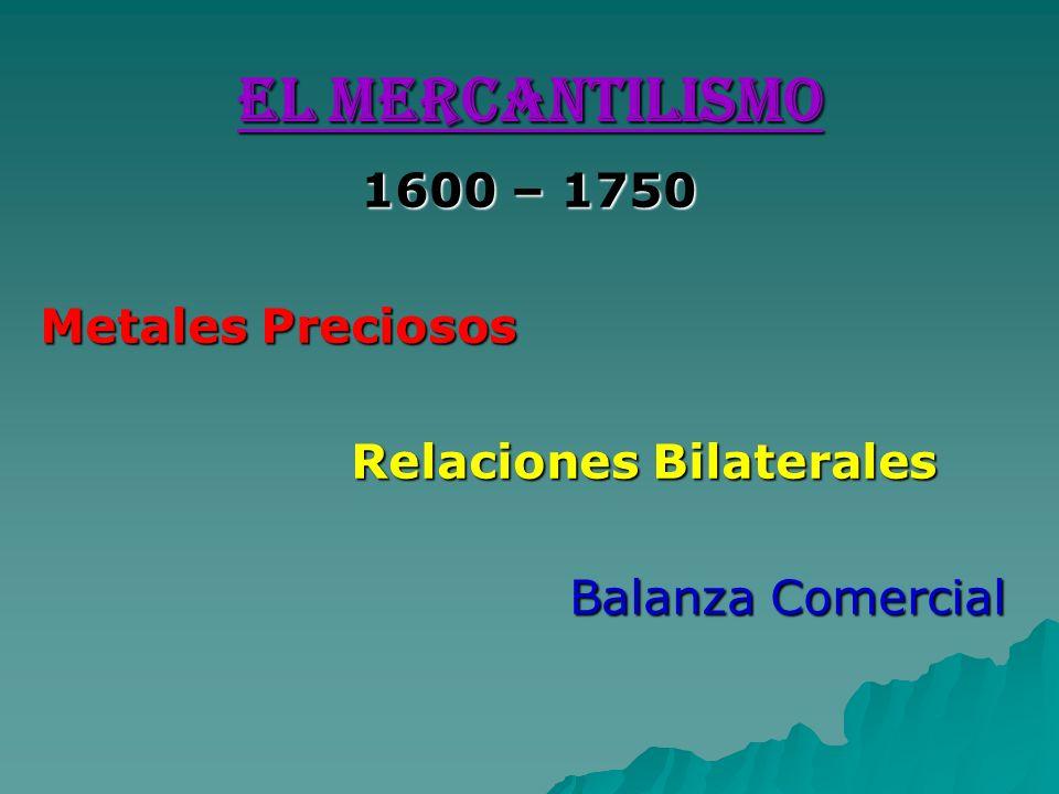 EL MERCANTILISMO 1600 – 1750 Metales Preciosos Relaciones Bilaterales