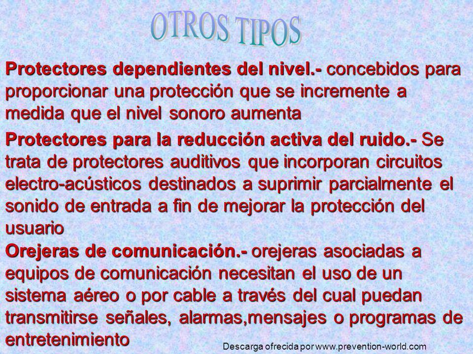 OTROS TIPOS Protectores dependientes del nivel.- concebidos para proporcionar una protección que se incremente a medida que el nivel sonoro aumenta.