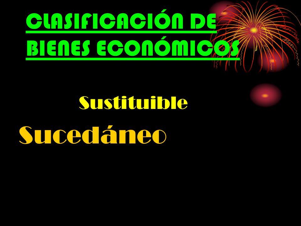 CLASIFICACIÓN DE BIENES ECONÓMICOS