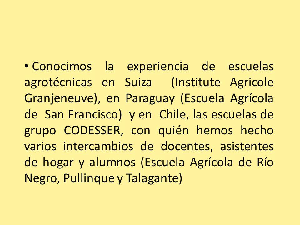 Conocimos la experiencia de escuelas agrotécnicas en Suiza (Institute Agricole Granjeneuve), en Paraguay (Escuela Agrícola de San Francisco) y en Chile, las escuelas de grupo CODESSER, con quién hemos hecho varios intercambios de docentes, asistentes de hogar y alumnos (Escuela Agrícola de Río Negro, Pullinque y Talagante)
