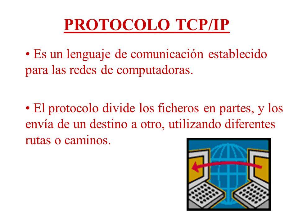 PROTOCOLO TCP/IP Es un lenguaje de comunicación establecido para las redes de computadoras.