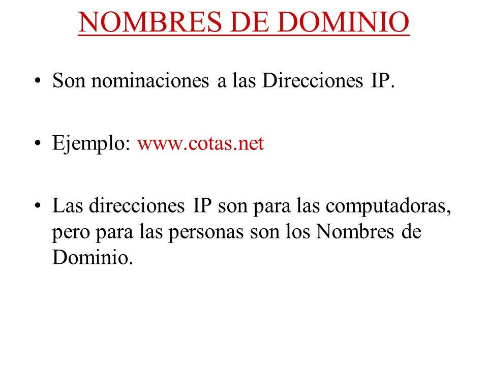 NOMBRES DE DOMINIO Son nominaciones a las Direcciones IP.