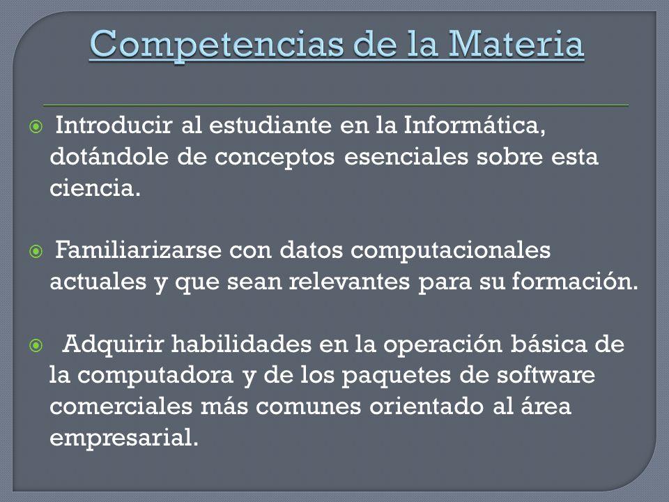 Competencias de la Materia
