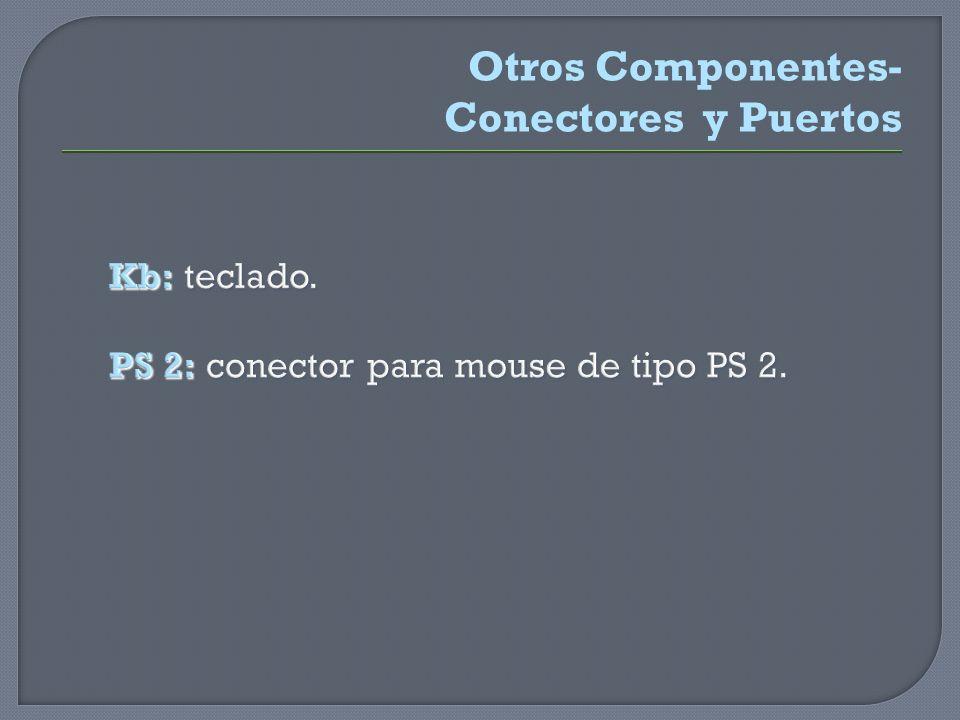 Kb: teclado. PS 2: conector para mouse de tipo PS 2.