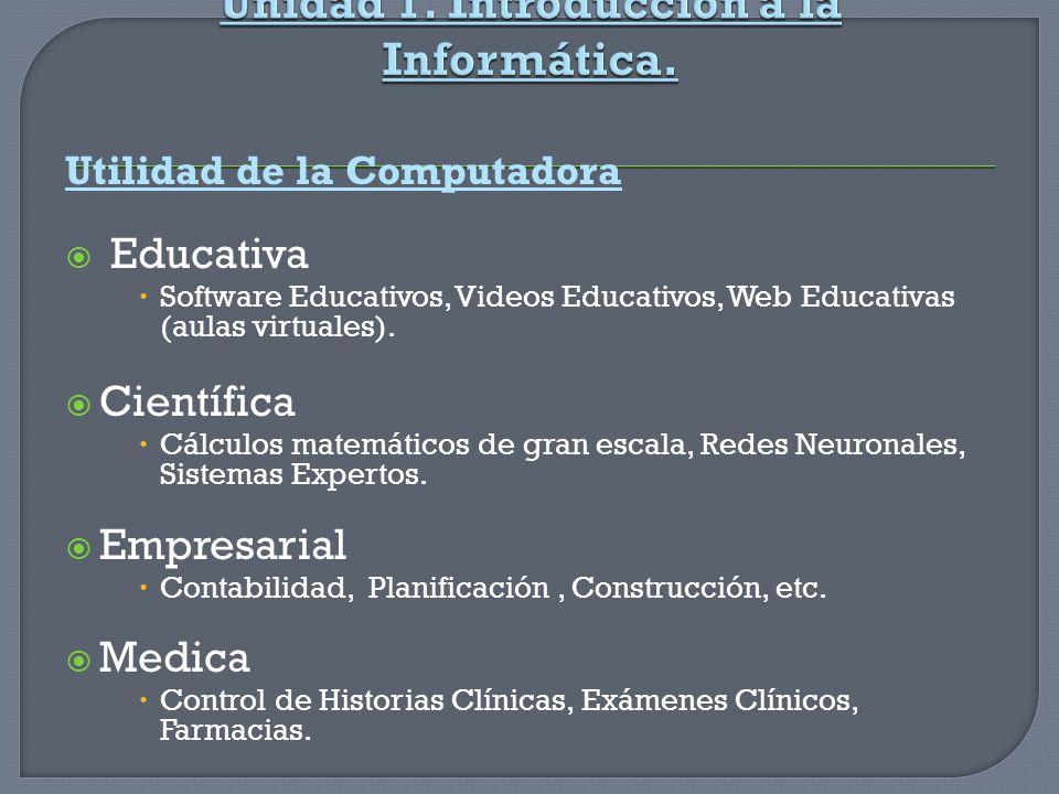 Unidad 1. Introducción a la Informática.