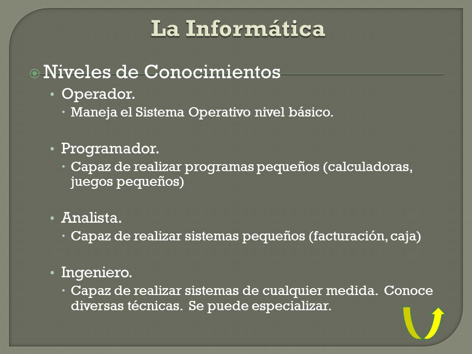 La Informática Niveles de Conocimientos Operador. Programador.