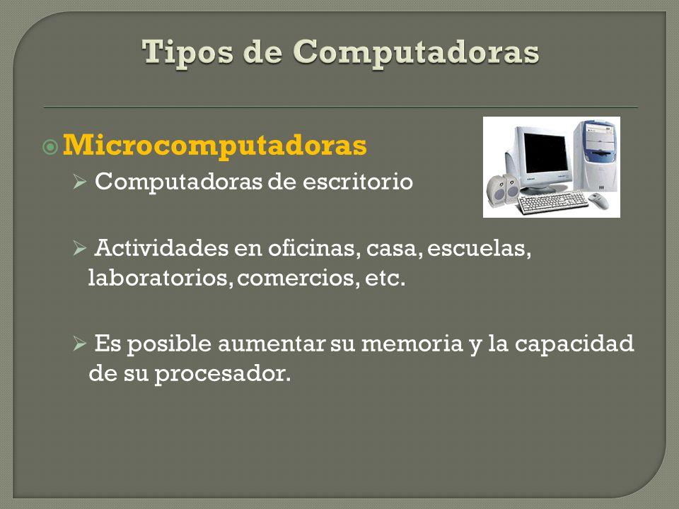 Tipos de Computadoras Microcomputadoras Computadoras de escritorio