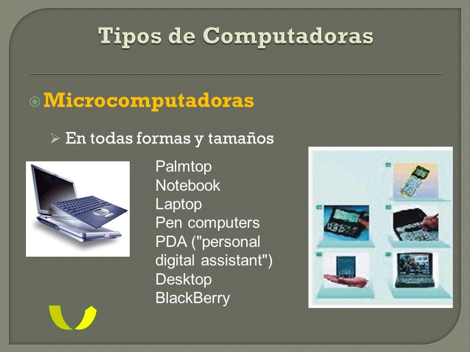 Tipos de Computadoras Microcomputadoras En todas formas y tamaños
