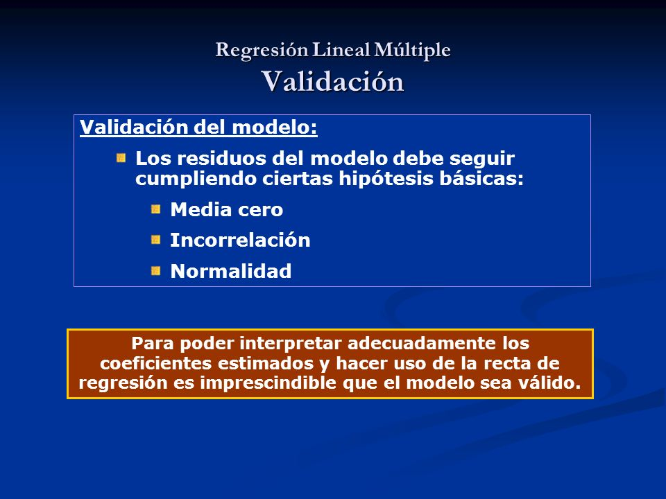 Regresión Lineal Múltiple Validación
