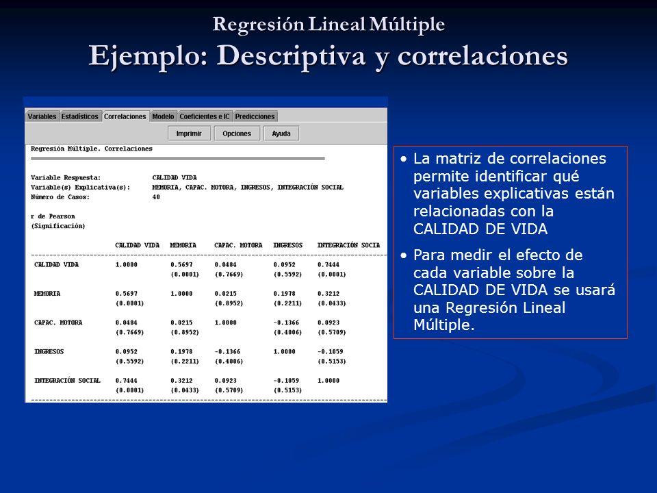 Regresión Lineal Múltiple Ejemplo: Descriptiva y correlaciones