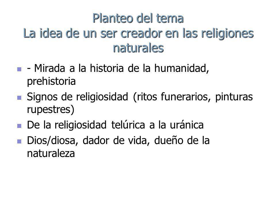 Planteo del tema La idea de un ser creador en las religiones naturales