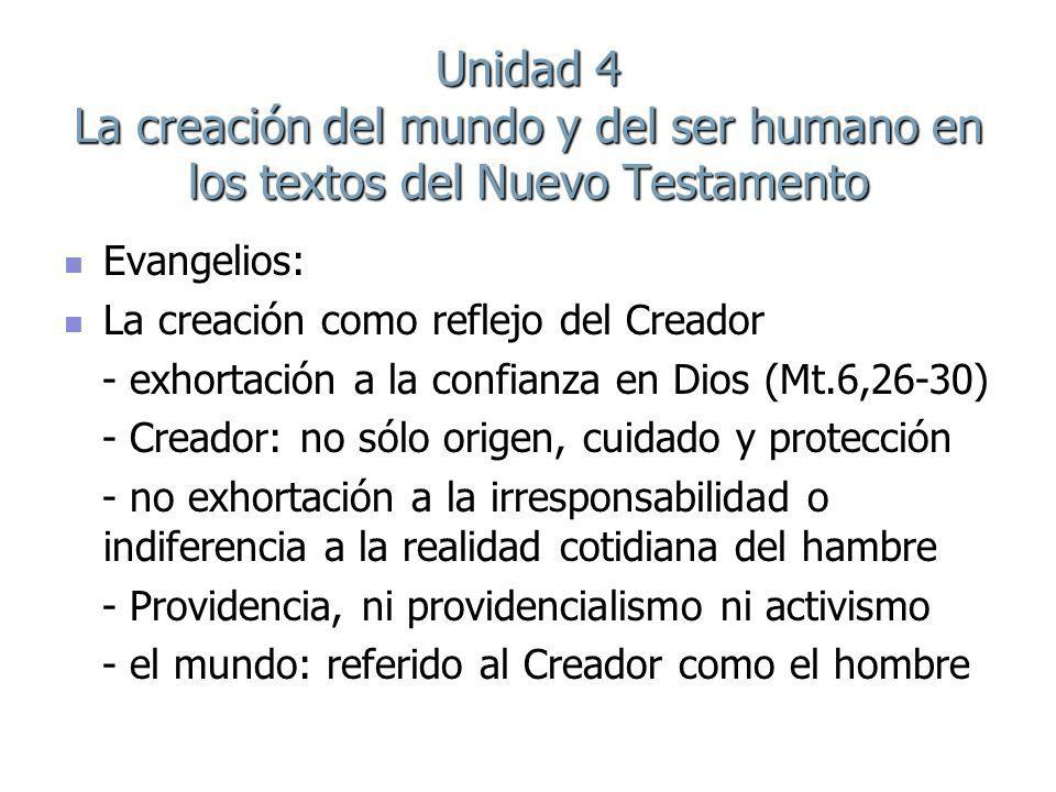 Unidad 4 La creación del mundo y del ser humano en los textos del Nuevo Testamento