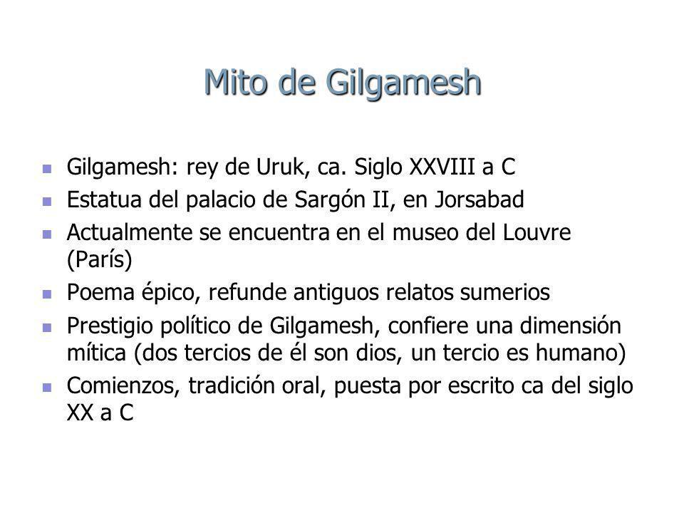 Mito de Gilgamesh Gilgamesh: rey de Uruk, ca. Siglo XXVIII a C