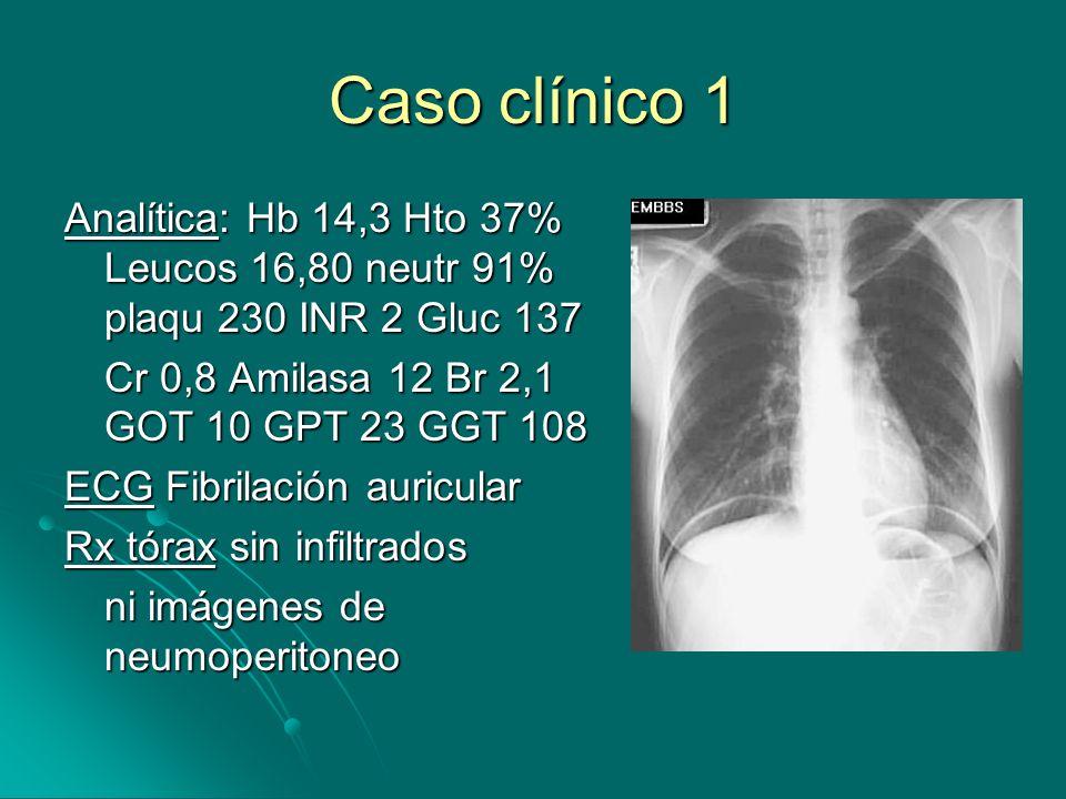 Caso clínico 1 Analítica: Hb 14,3 Hto 37% Leucos 16,80 neutr 91% plaqu 230 INR 2 Gluc 137. Cr 0,8 Amilasa 12 Br 2,1 GOT 10 GPT 23 GGT 108.
