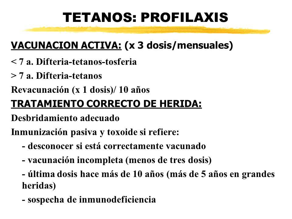 TETANOS: PROFILAXIS VACUNACION ACTIVA: (x 3 dosis/mensuales)