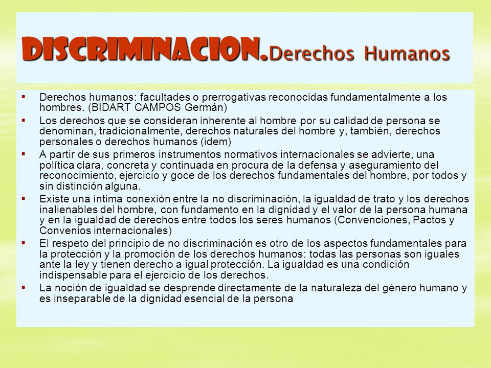 DISCRIMINACION.Derechos Humanos