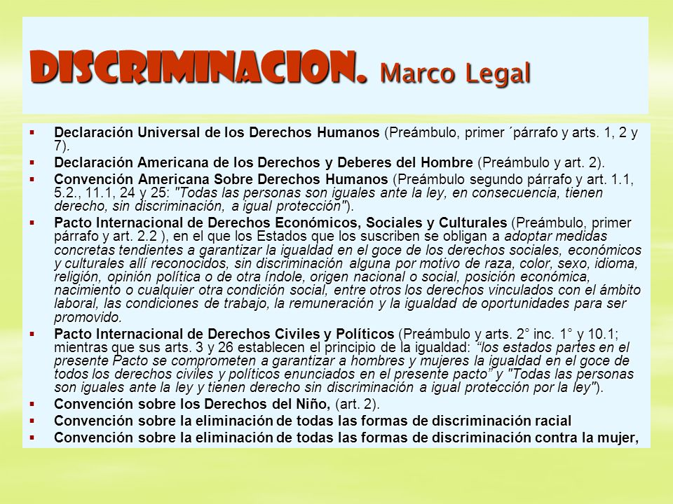 DISCRIMINACION. Marco Legal