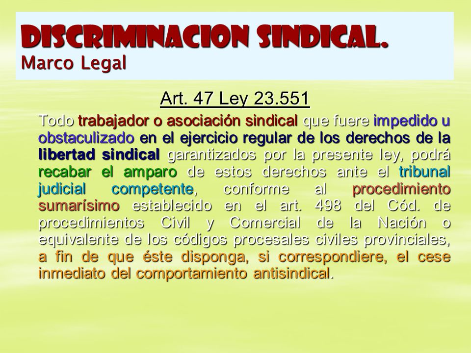 DISCRIMINACION SINDICAL. Marco Legal