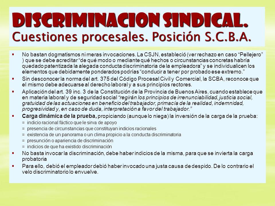 DISCRIMINACION SINDICAL. Cuestiones procesales. Posición S.C.B.A.