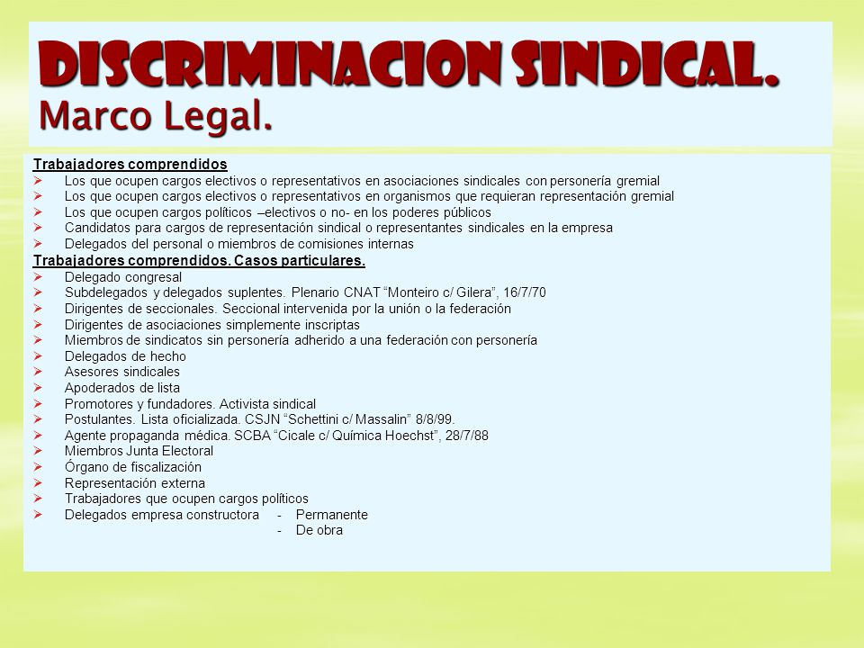 DISCRIMINACION SINDICAL. Marco Legal.