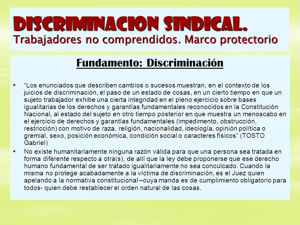 Fundamento: Discriminación