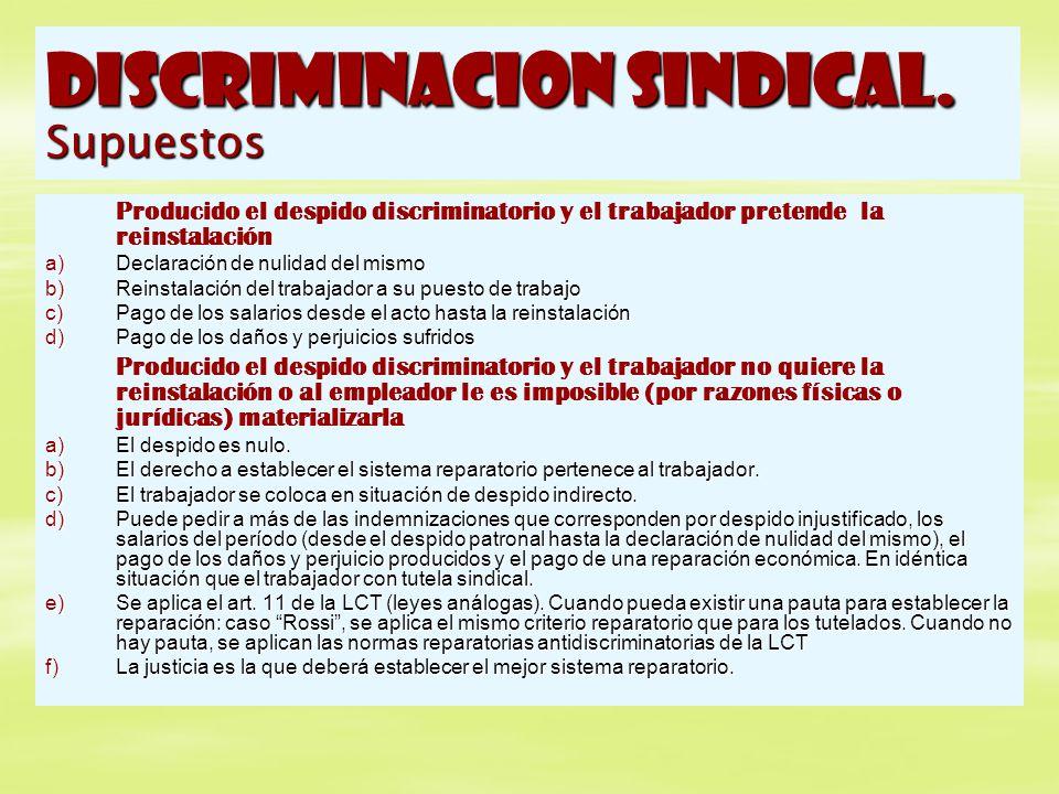 DISCRIMINACION SINDICAL. Supuestos