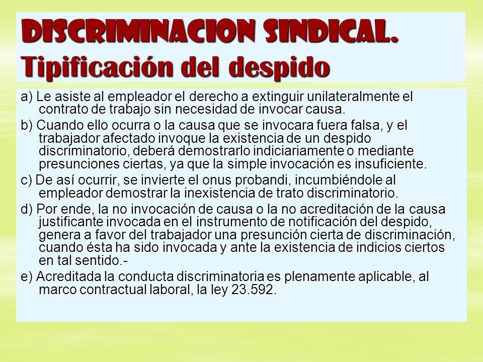 DISCRIMINACION SINDICAL. Tipificación del despido