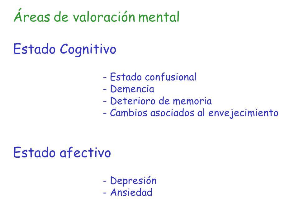 Áreas de valoración mental Estado Cognitivo