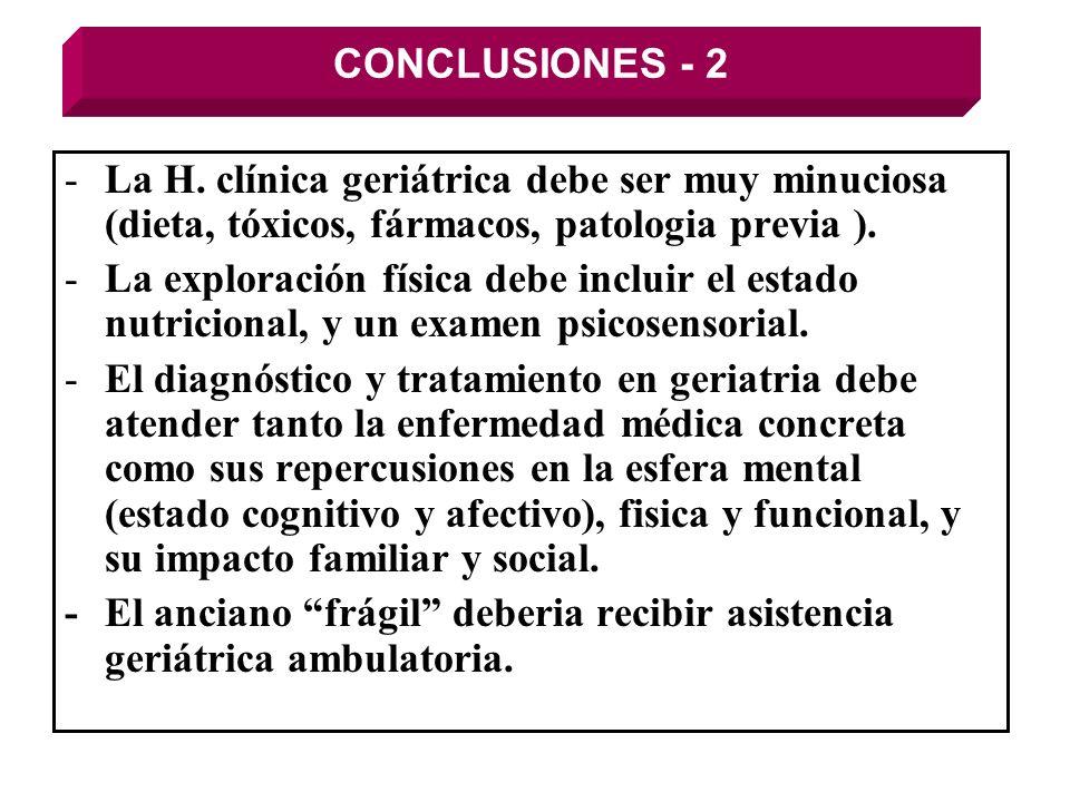 CONCLUSIONES - 2 La H. clínica geriátrica debe ser muy minuciosa (dieta, tóxicos, fármacos, patologia previa ).