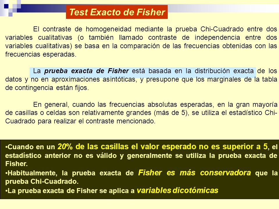 Test Exacto de Fisher
