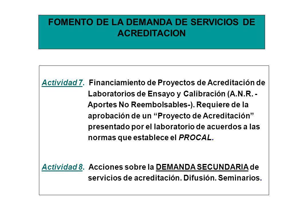 FOMENTO DE LA DEMANDA DE SERVICIOS DE ACREDITACION