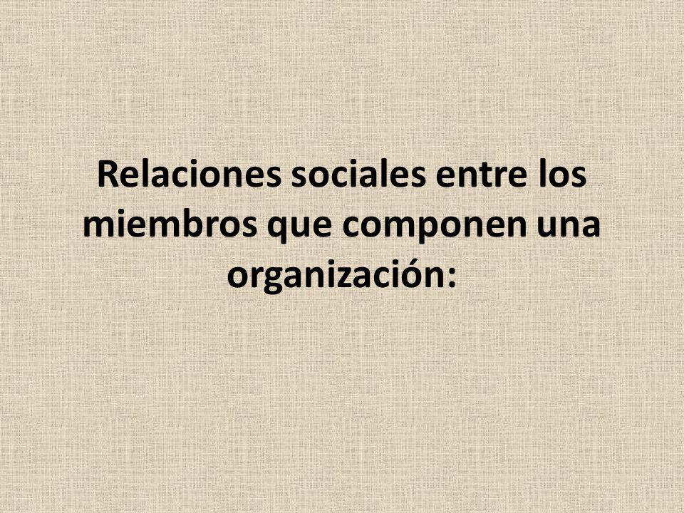 Relaciones sociales entre los miembros que componen una organización:
