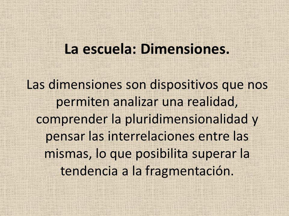 La escuela: Dimensiones