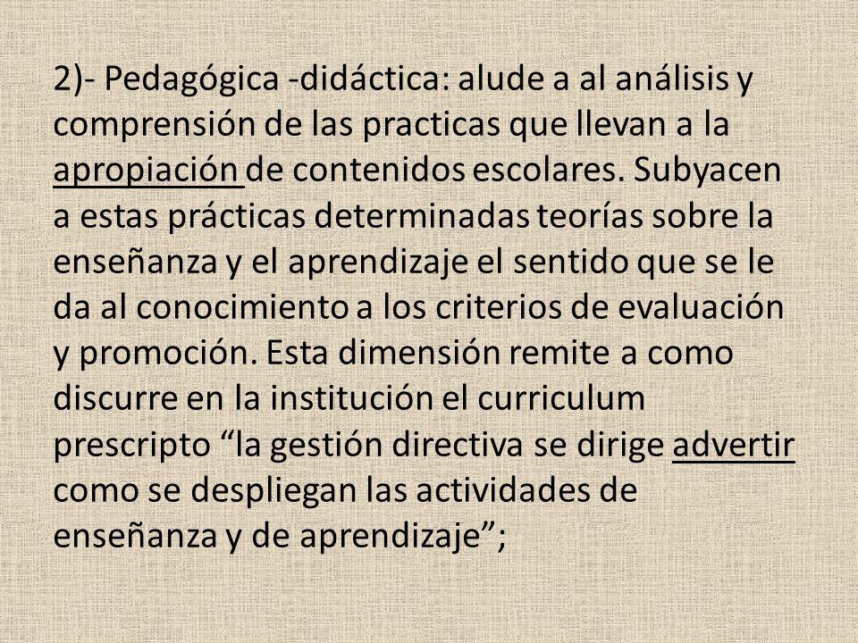 2)- Pedagógica -didáctica: alude a al análisis y comprensión de las practicas que llevan a la apropiación de contenidos escolares.