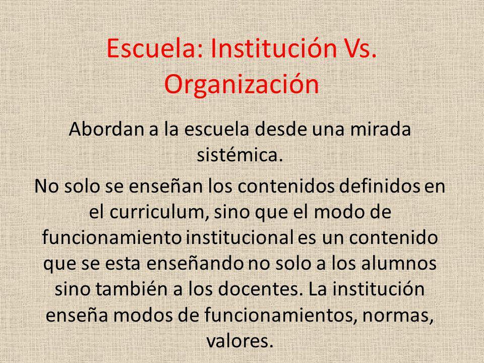 Escuela: Institución Vs. Organización
