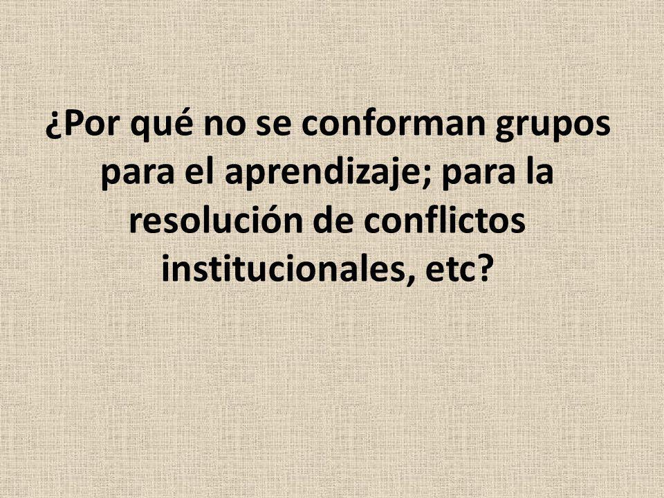 ¿Por qué no se conforman grupos para el aprendizaje; para la resolución de conflictos institucionales, etc