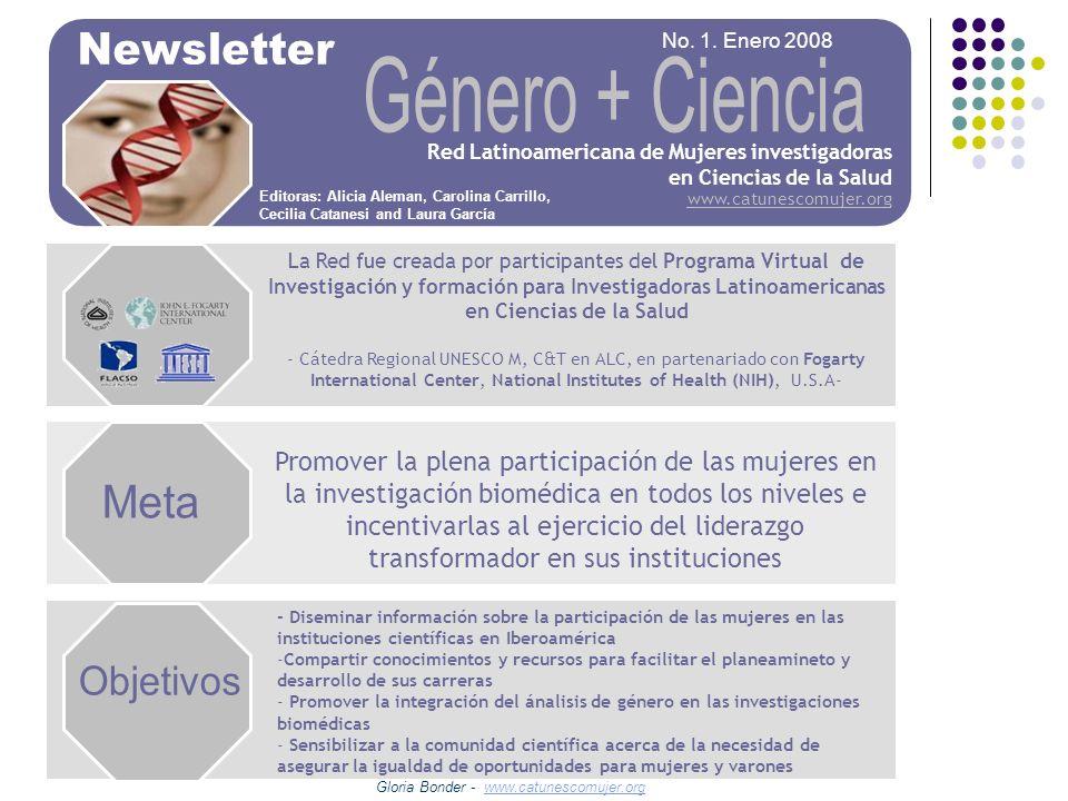 Género + Ciencia Meta Objetivos Newsletter