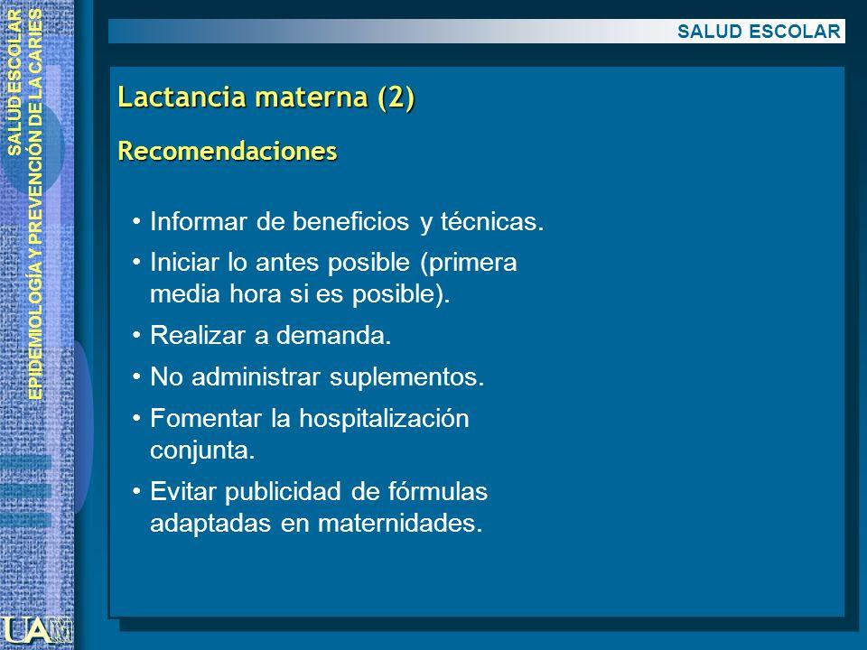 Lactancia materna (2) Recomendaciones