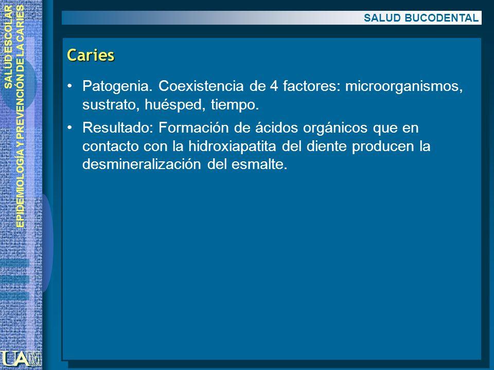 SALUD BUCODENTAL Caries. Patogenia. Coexistencia de 4 factores: microorganismos, sustrato, huésped, tiempo.