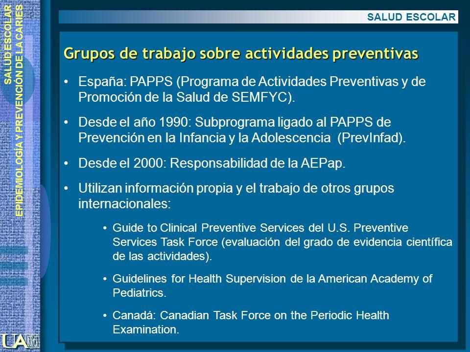 Grupos de trabajo sobre actividades preventivas